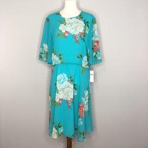 NWT Donna Morgan Floral Bright Blue Dress 16P